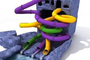 3d closed tubular water slides model