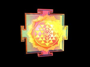 3d sri yantra symbolically