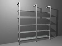 3d model metal glass shelves