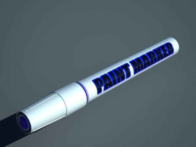 blue paint marker 3d model