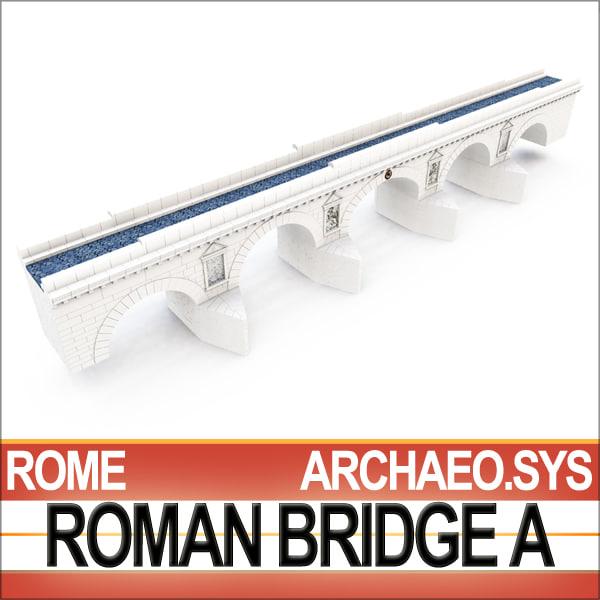 ancient roman bridge imperial obj