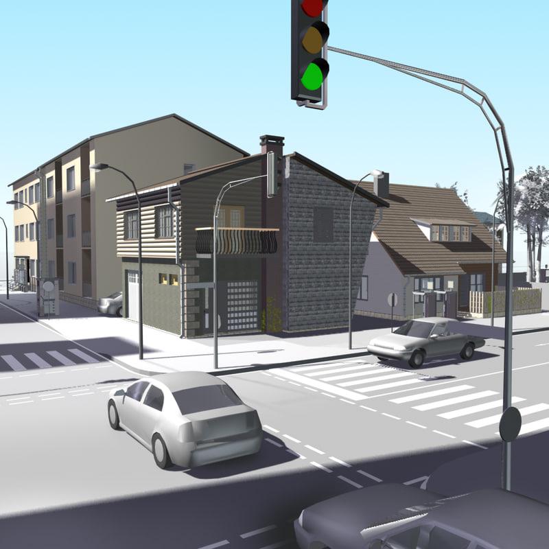 urban block buildings 3d model