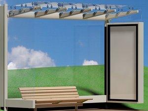 free busstop garbagecan bench 3d model