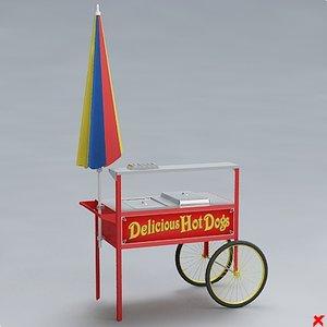 hot dog cart 3d max