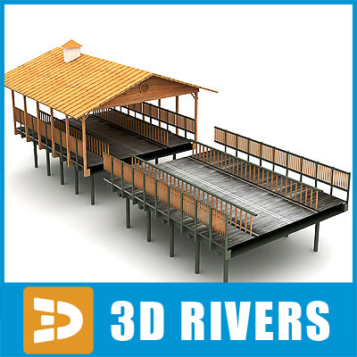 3d model wooden bridge roof