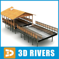Wooden bridge with roof by 3Drivers