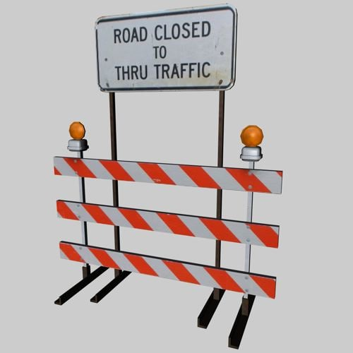 road closed sign 3d 3ds