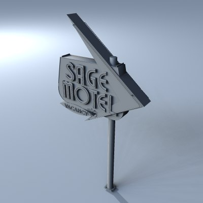 3dsmax old retro motel sign