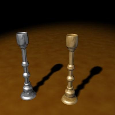 3d medieval candlesticks model