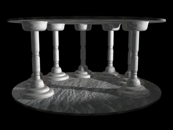 seven white columns 3d 3ds