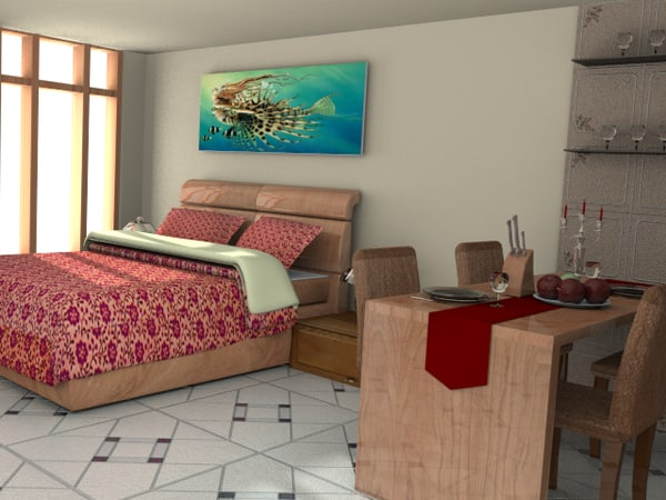 studio apartment interiors bed room 3d blend