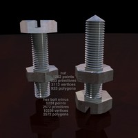 3d model hex bolt nut