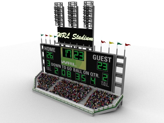 large fully customizable scoreboard 3d model