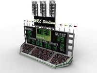 Scoreboard fully customizable with stadium seats and low poly crowd