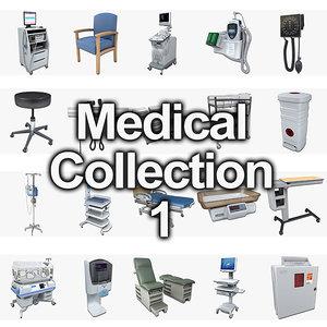 medical hospital bed 3d model
