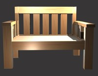 wooden bench park 3d model