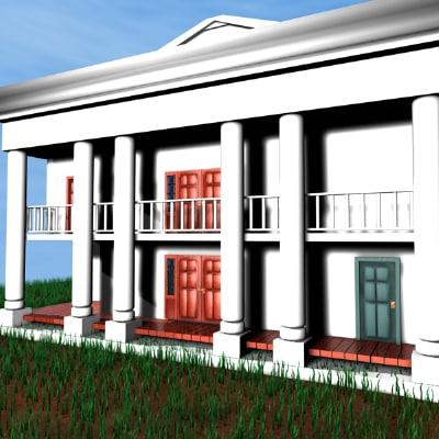 white plantation home 3d c4d
