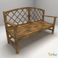 wood bench exterior 3d 3ds