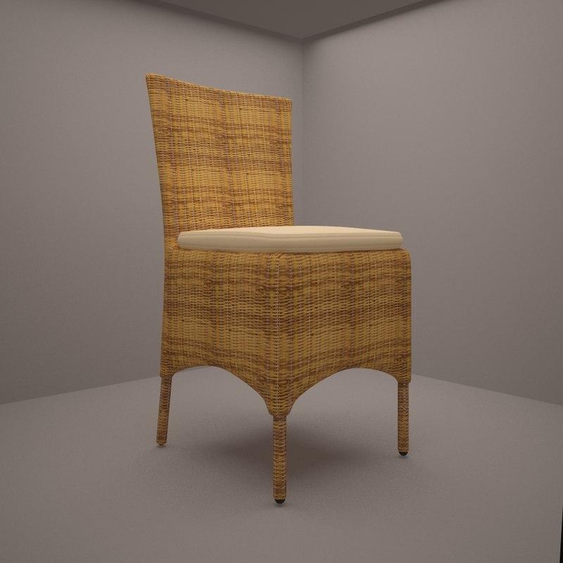 3d model rattan chair formello