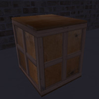 low-poly wood crate shipping 3d model
