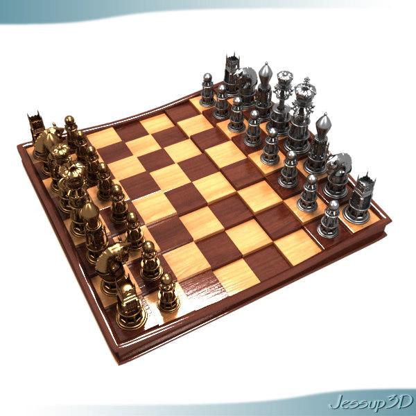 executive chess set board 3d model