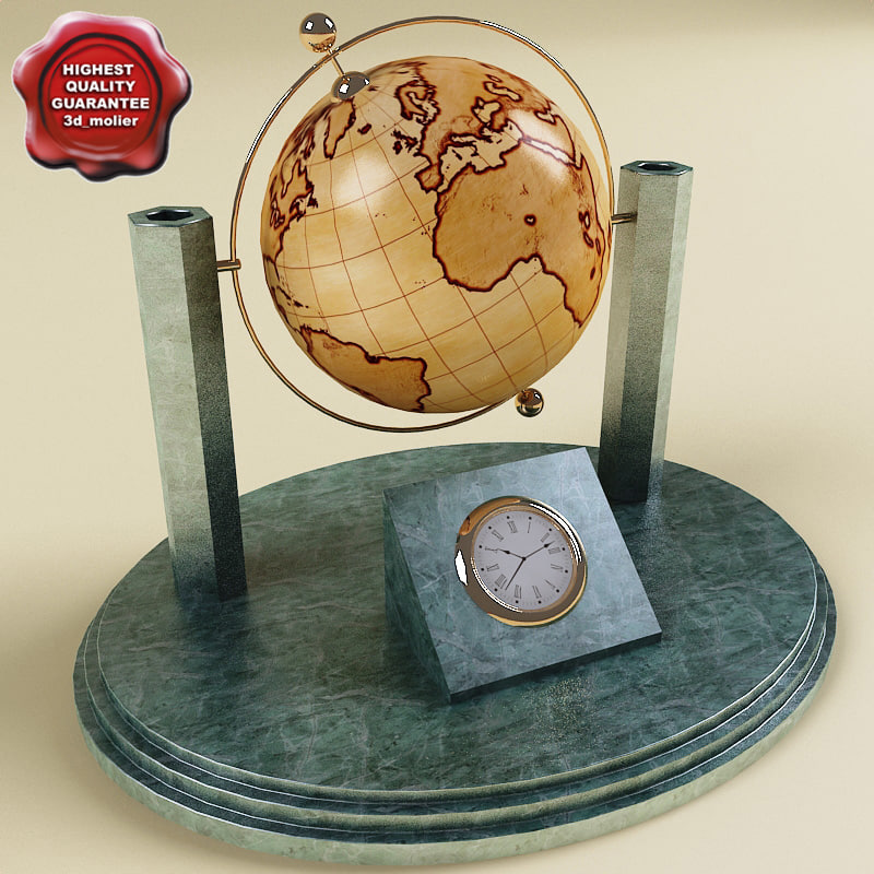3d 3ds desk globe clock