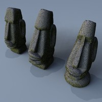 3d model easter island heads stone