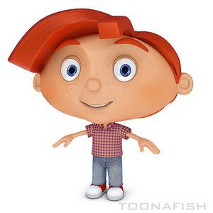 funny cartoon character 3d model