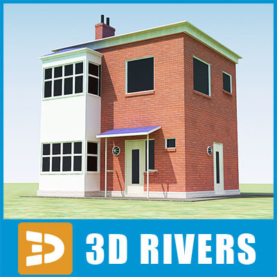 3d small town house building
