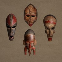 tribal masks 3d obj