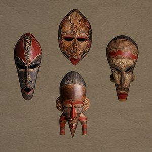 tribal masks 3d obj
