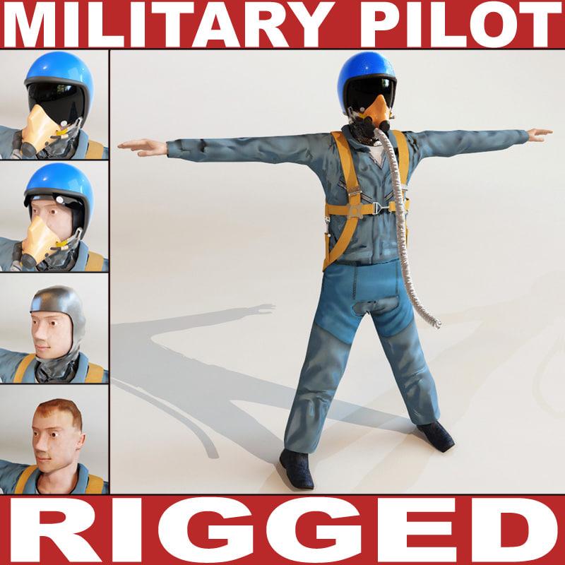 3dsmax military pilot rigged biped