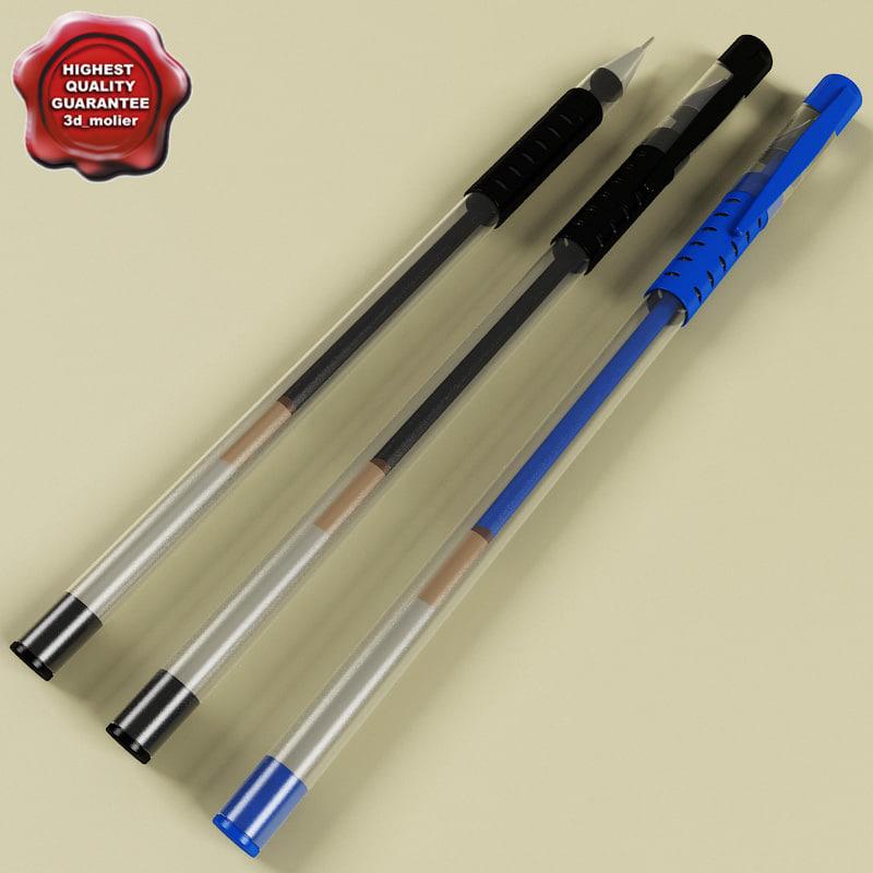 pens set modelled 3d model