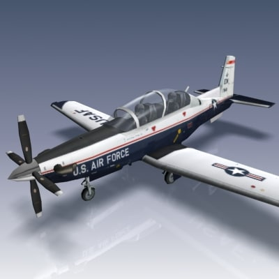t-6b texan ii usaf 3d model