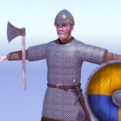 3d viking warrior games model