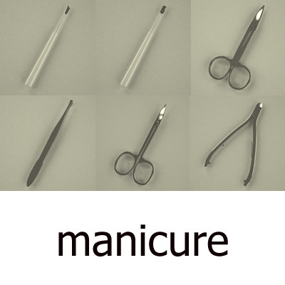 3d model manicure man set
