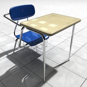 3d model desk classroom