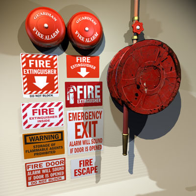hose alarm bells 01 3d model