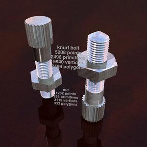 knurled nut bolt screws 3d 3ds