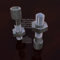 3d model knurled allen key bolt nut
