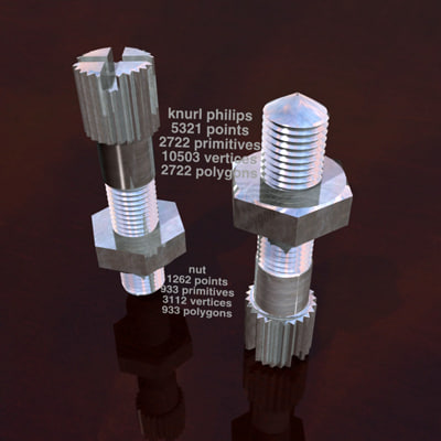 3ds max knurled philips head bolt nut