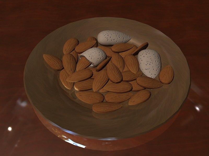 almonds 3d max