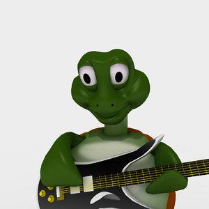 3d cartoon turtle musician