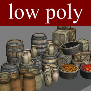 3d barrels baskets object medieval model