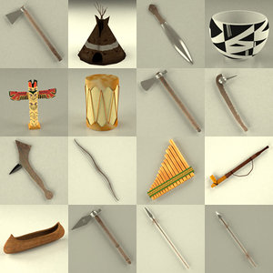 3d model of indian teepee weapons