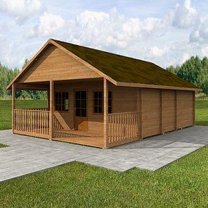 3d wood hause model