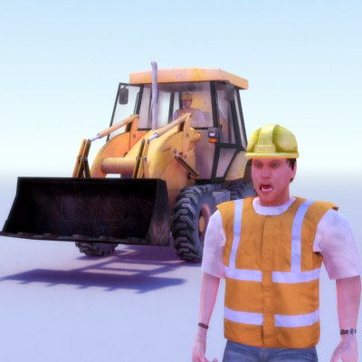 2cx digger excavator rigged 3d model