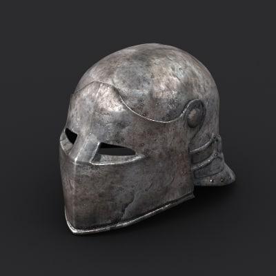 medieval helmet 01 3d model