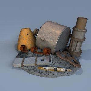 3d industrial scrap model