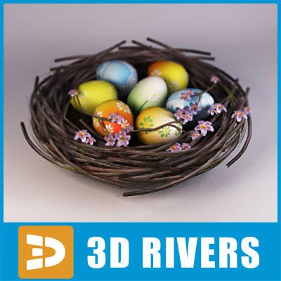 3d model of traditional easter nest basket